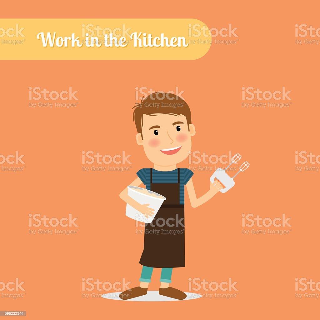 Man work in the kitchen ilustração de man work in the kitchen e mais banco de imagens de adulto royalty-free