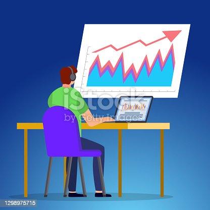 istock Man Work on Laptop at Office, Data Chart on Board 1298975715