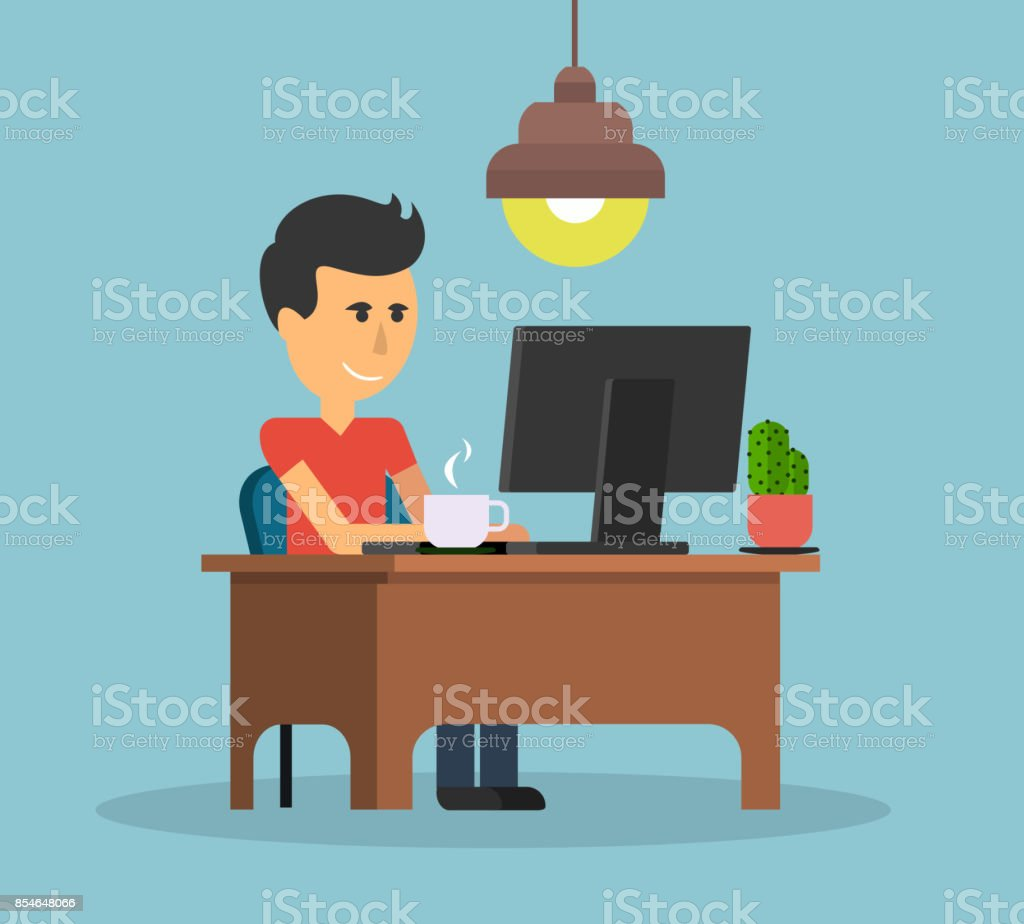 Man work with computer design flat. Work and man, computer and...