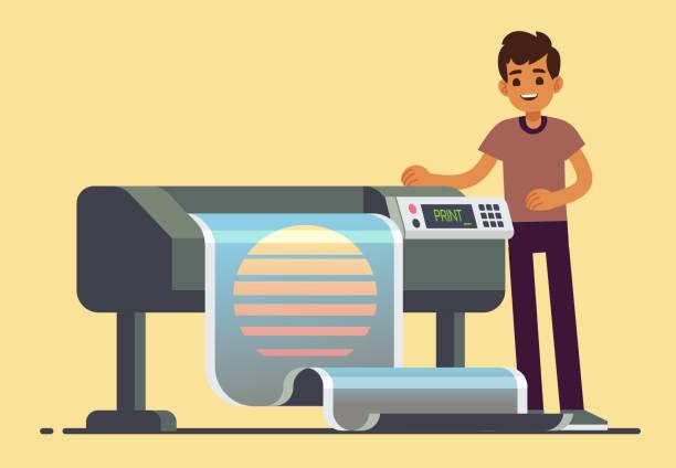 stockillustraties, clipart, cartoons en iconen met man werknemer op plotter afdrukken grootformaat groot spandoek vectorillustratie - breed