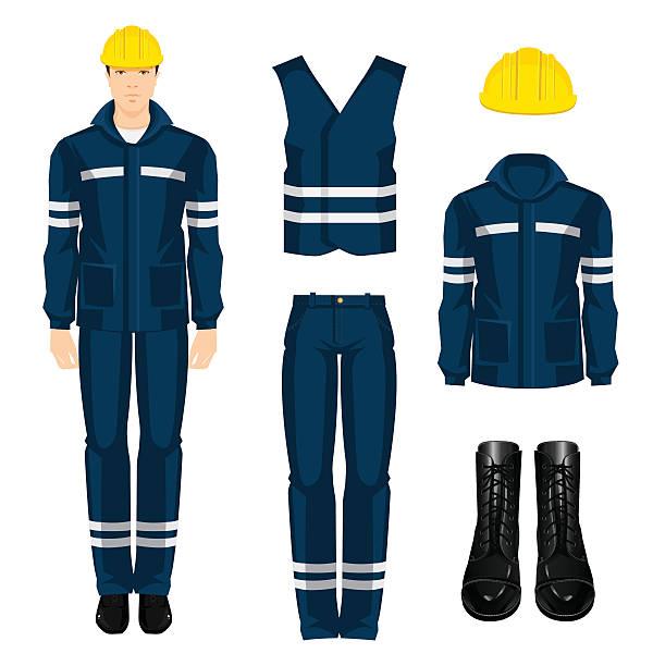 mężczyzna robotnik w hełm ochronny i noszenia. - kask ochronny odzież ochronna stock illustrations