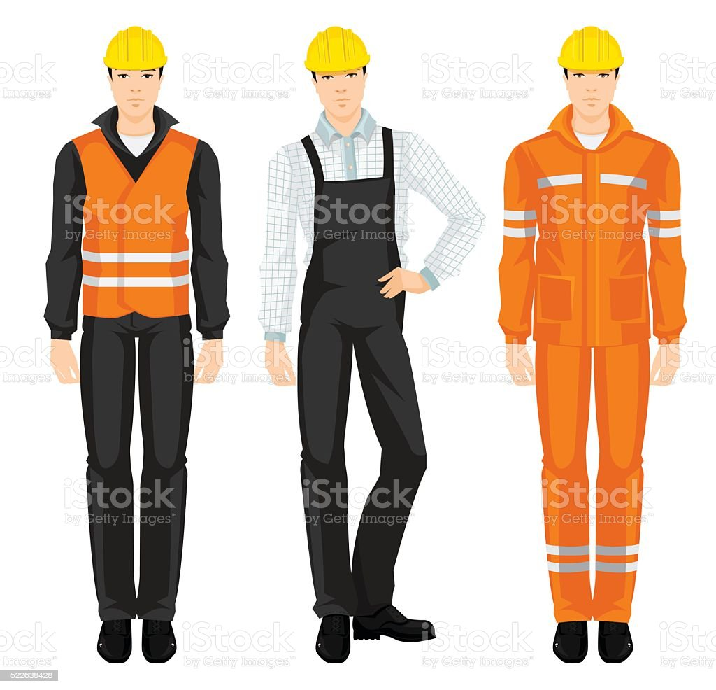 Man worker in protective wear and helmet. vector art illustration