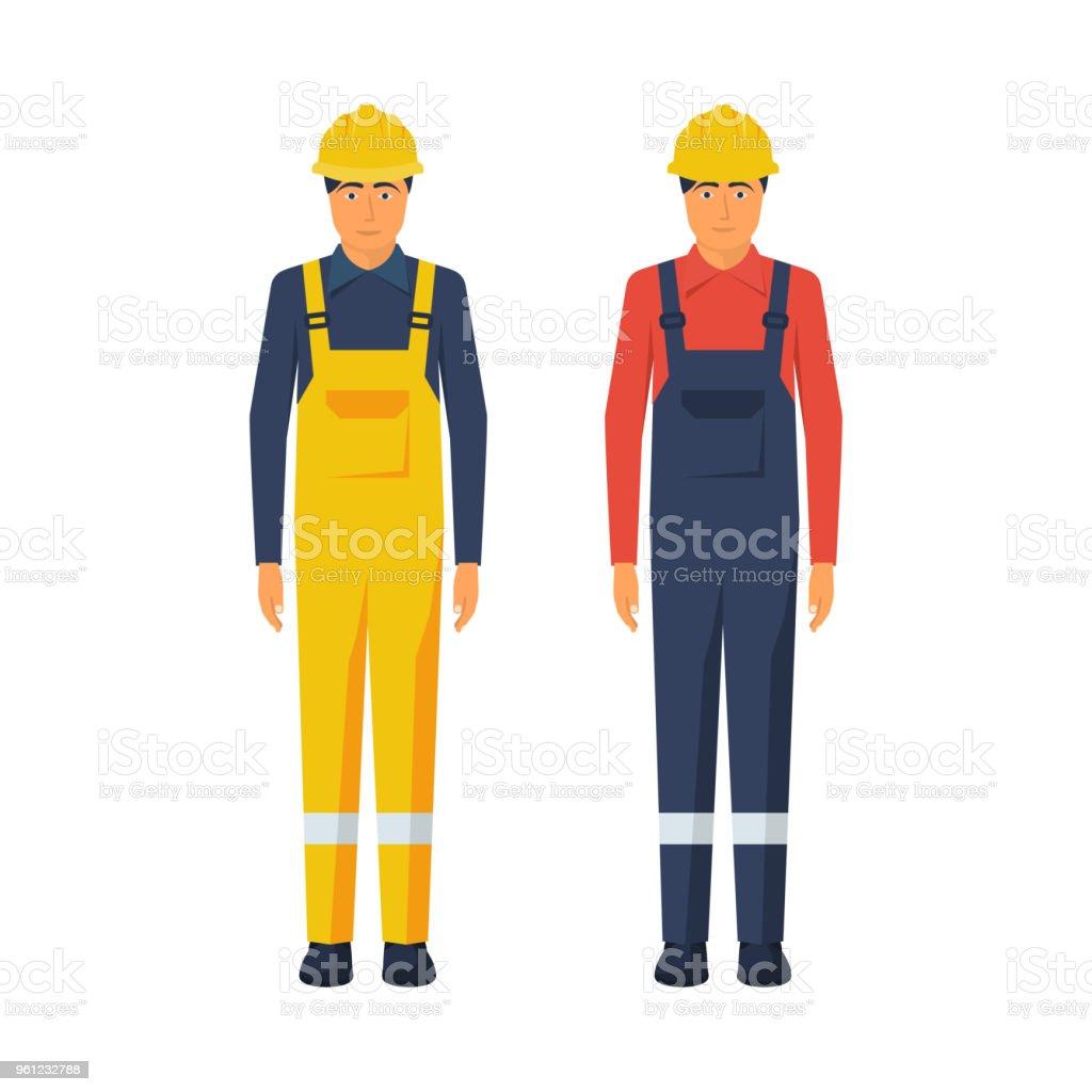 Man worker. Protective uniform and safety helmet. vector art illustration