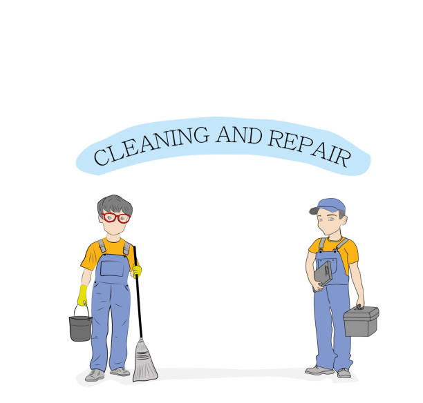 """ilustrações, clipart, desenhos animados e ícones de trabalhadores de homem com uma ferramenta e a inscrição """"limpeza e reparação"""". ilustração em vetor. - molduras decorativas"""