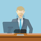 Man working as bank clerk, bank teller workplace vector illustration