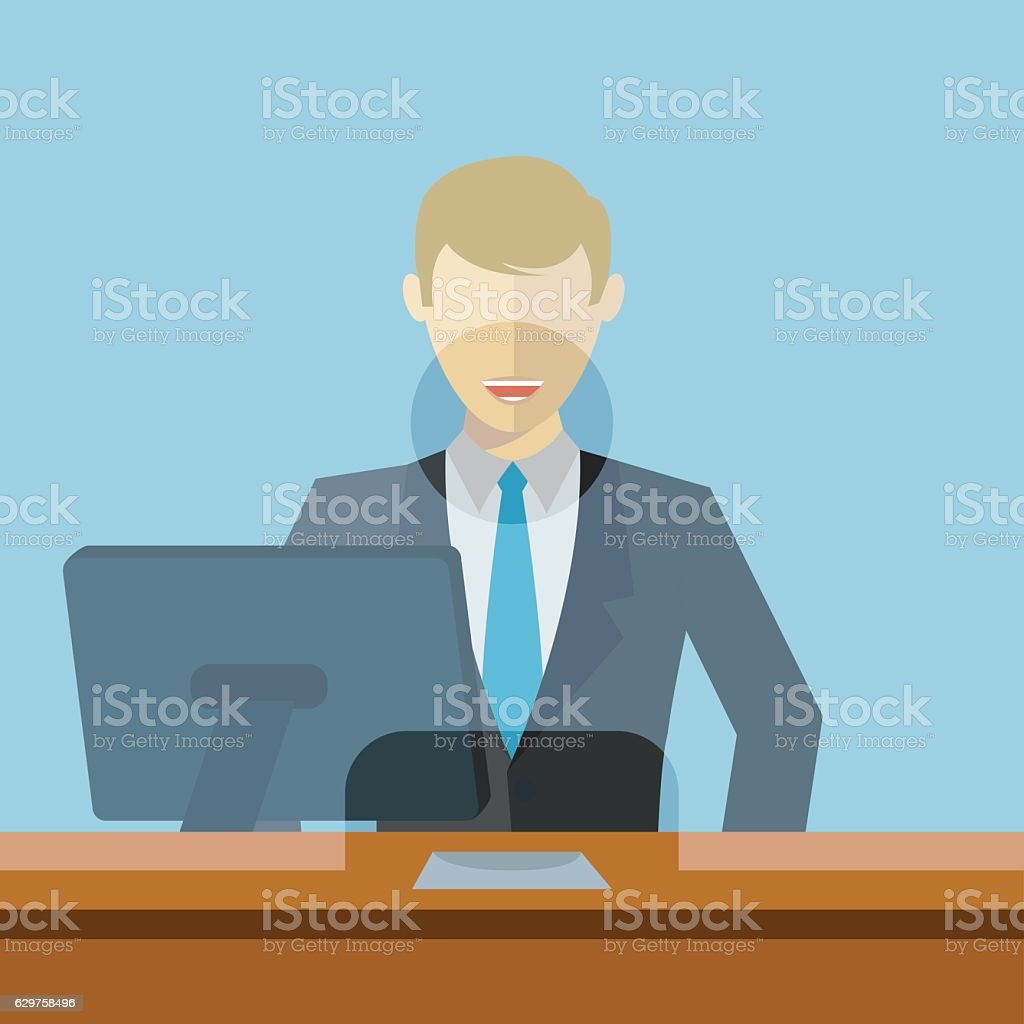 Man working as bank clerk, bank teller workplace vector illustration vector art illustration
