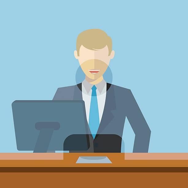 Man working as bank clerk, bank teller workplace vector illustration vector art illustration