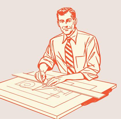 Man Working at Drafting Table