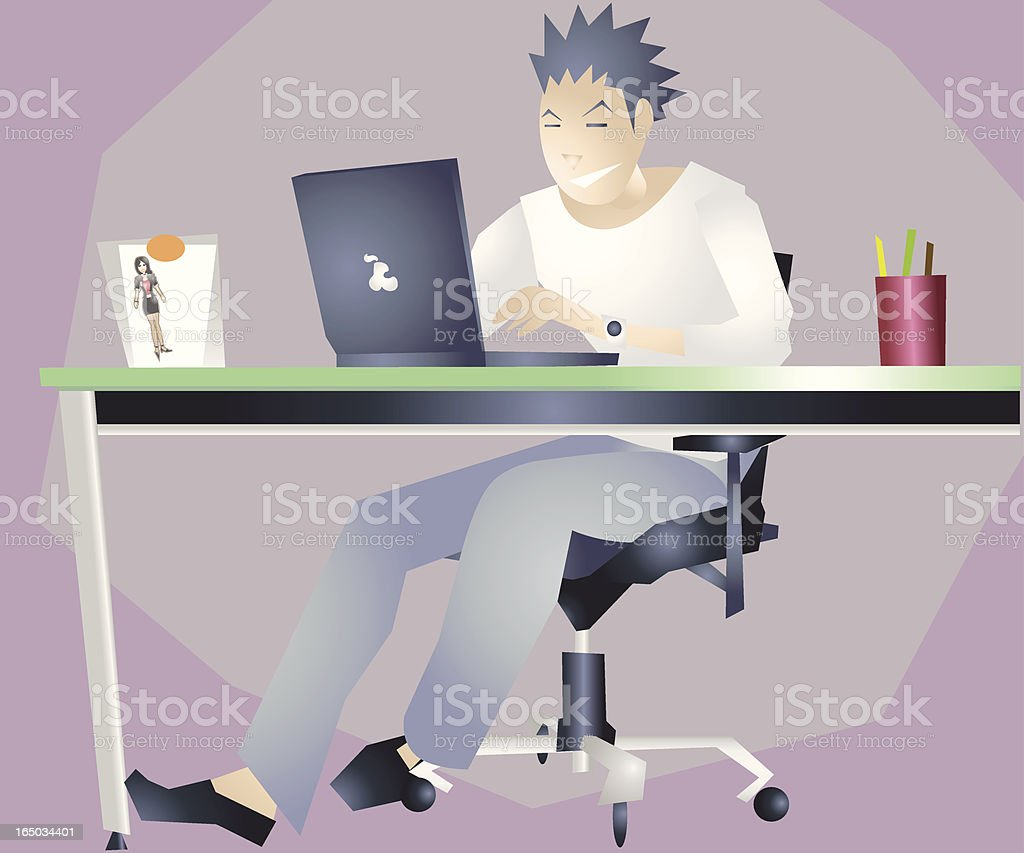 Man Working at Home Office with Laptop VECTOR royalty-free man working at home office with laptop vector stock vector art & more images of 30-39 years