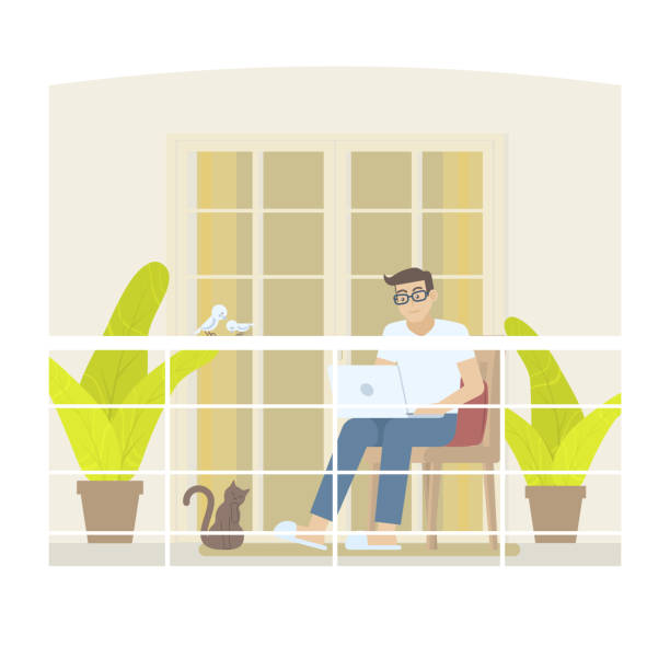 Man working at home on balcony Young man in casual clothing working at home in daytime with laptop computer on balcony with railing, door, curtain, pillow, plant, cat and birds in flat cartoon style porch stock illustrations