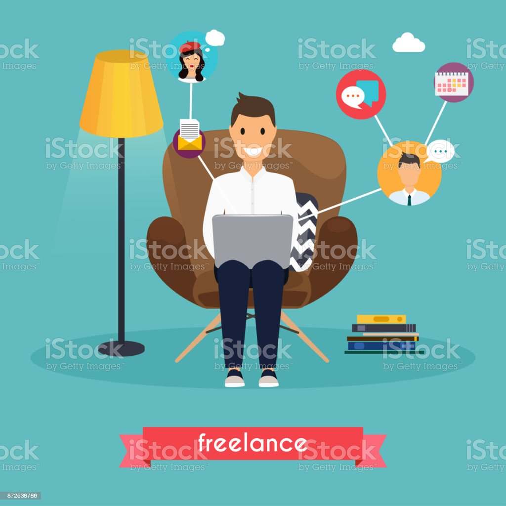 Man working at home. Young man sitting on a chair and using laptop. Freelance,  self employed, freedom, in living room. vector art illustration
