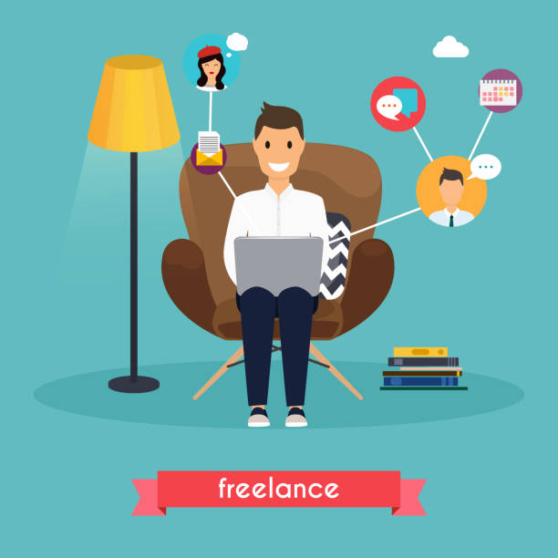 man working at home. young man sitting on a chair and using laptop. freelance,  self employed, freedom, in living room. - working from home stock illustrations
