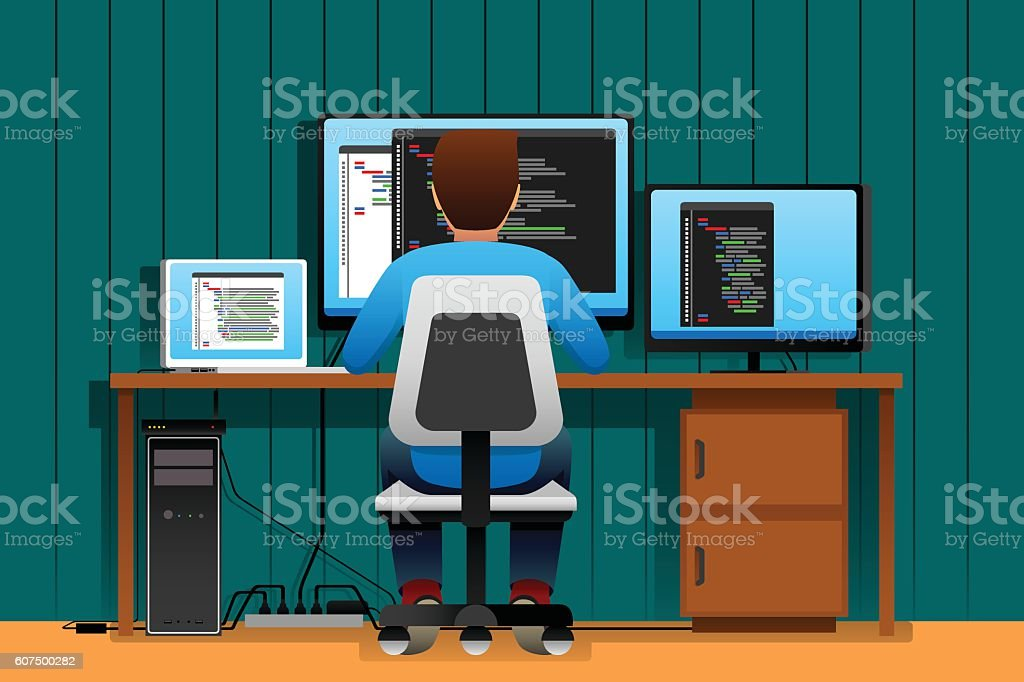 Man Working in Front of His Computer vector art illustration