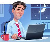 Vector illustration of a tired, exhausted man sitting in front of his laptop at home or in his office, late at night. In the background the moon shining through the window. Concept for burnout, working at home, working overtime, freelance working, working sick and emotional stress in the work life.