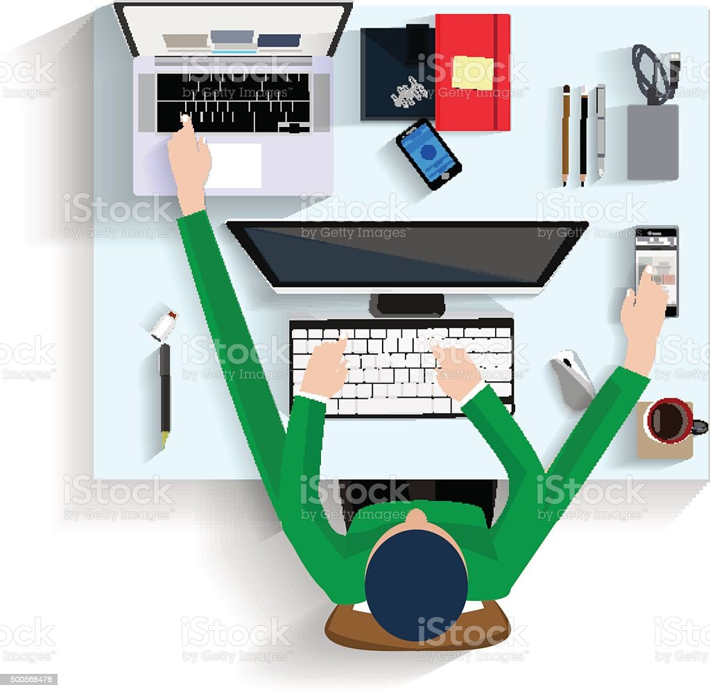 man working on computer, flat design view top illustration vector art illustration