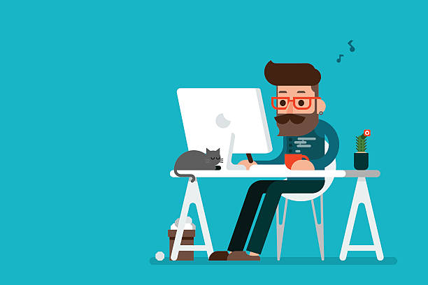 man working on computer. - flat design icons stock illustrations, clip art, cartoons, & icons