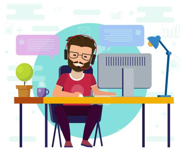 コンピューターで作業する男性。作業デスク、フラット漫画人のキャラクター、フリーランサー職場、オンライン ネット会話画像のアイデア。 - フリーランス点のイラスト素材/クリップアート素材/マンガ素材/アイコン素材