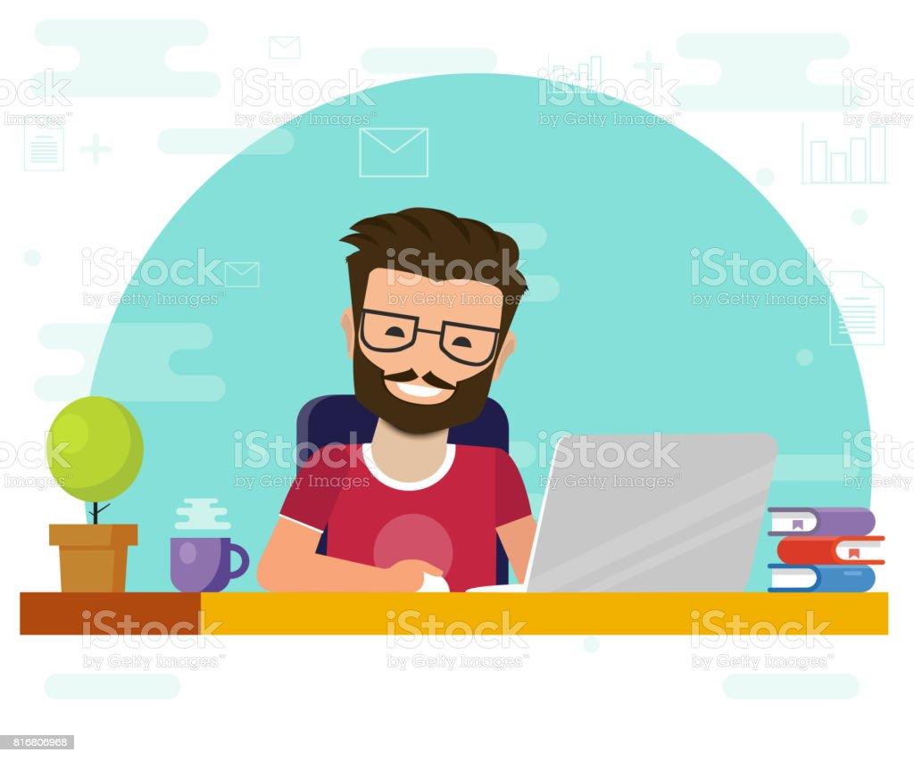 Hombre que trabaja en equipo. De trabajo escritorio, personaje de historieta plana persona, idea de trabajo freelance, imagen de conversación en línea de internet. - ilustración de arte vectorial