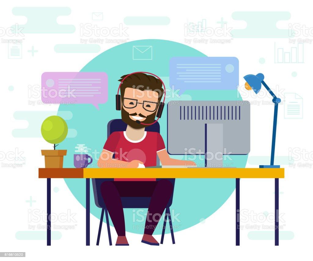 コンピューターで作業する男性。作業デスク、フラット漫画人のキャラクター、フリーランサー職場、オンライン ネット会話画像のアイデア。 ベクターアートイラスト