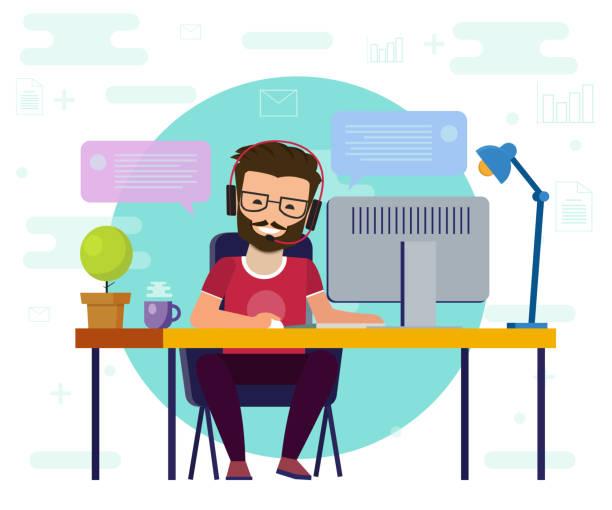 コンピューターで作業する男性。作業デスク、フラット漫画人のキャラクター、フリーランサー職場、オンライン ネット会話画像のアイデア。 - 旅行代理店点のイラスト素材/クリップアート素材/マンガ素材/アイコン素材