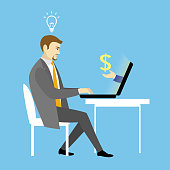 Man Working On laptop Computer.Businessman with finance idea