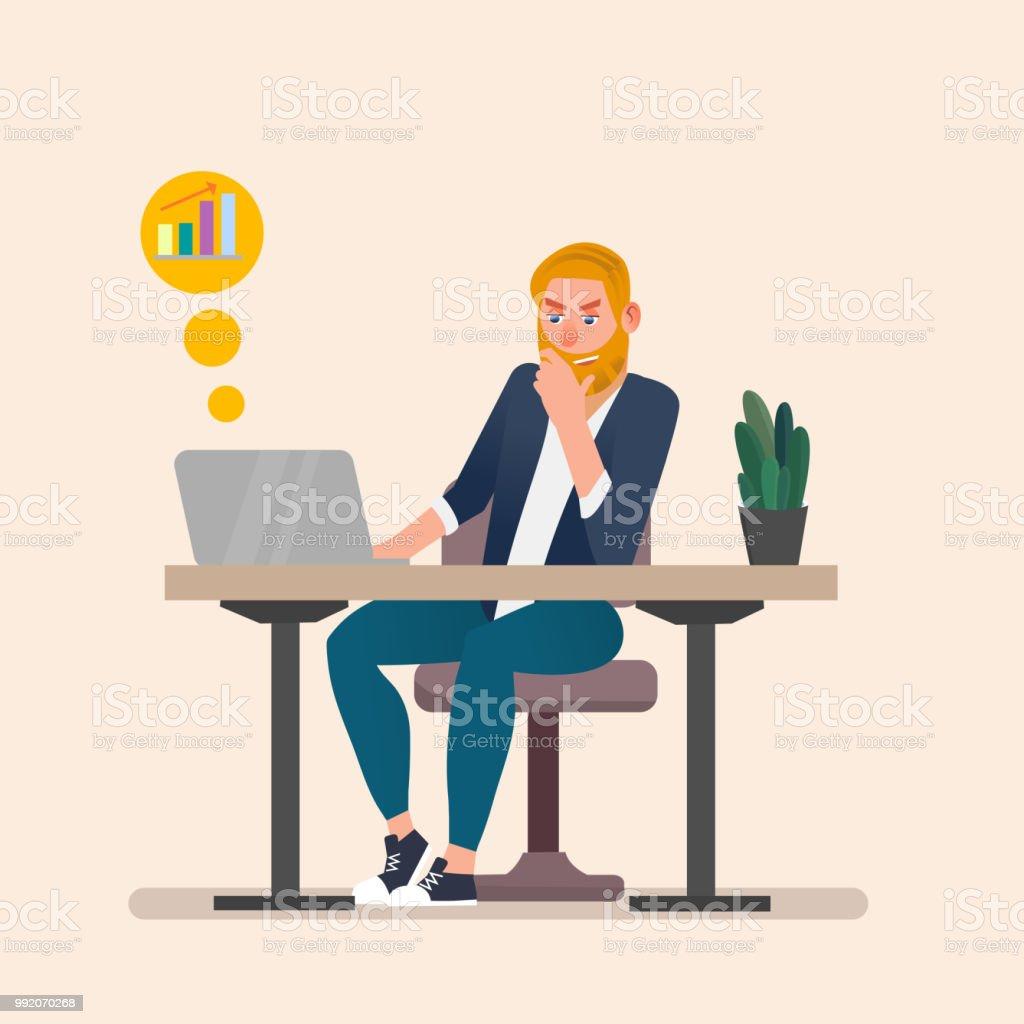 Man Working On Laptop Flat Cartoon Person Character Freelancer