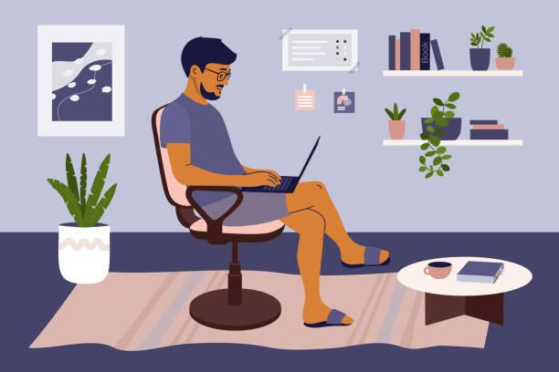 Man working on laptop from home in cozy interior – artystyczna grafika wektorowa