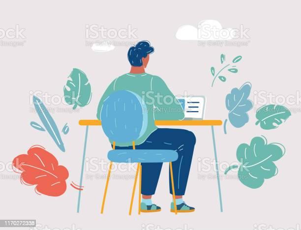 Ilustración de Un Hombre Que Trabaja En Una Laptop y más Vectores Libres de Derechos de Adulto