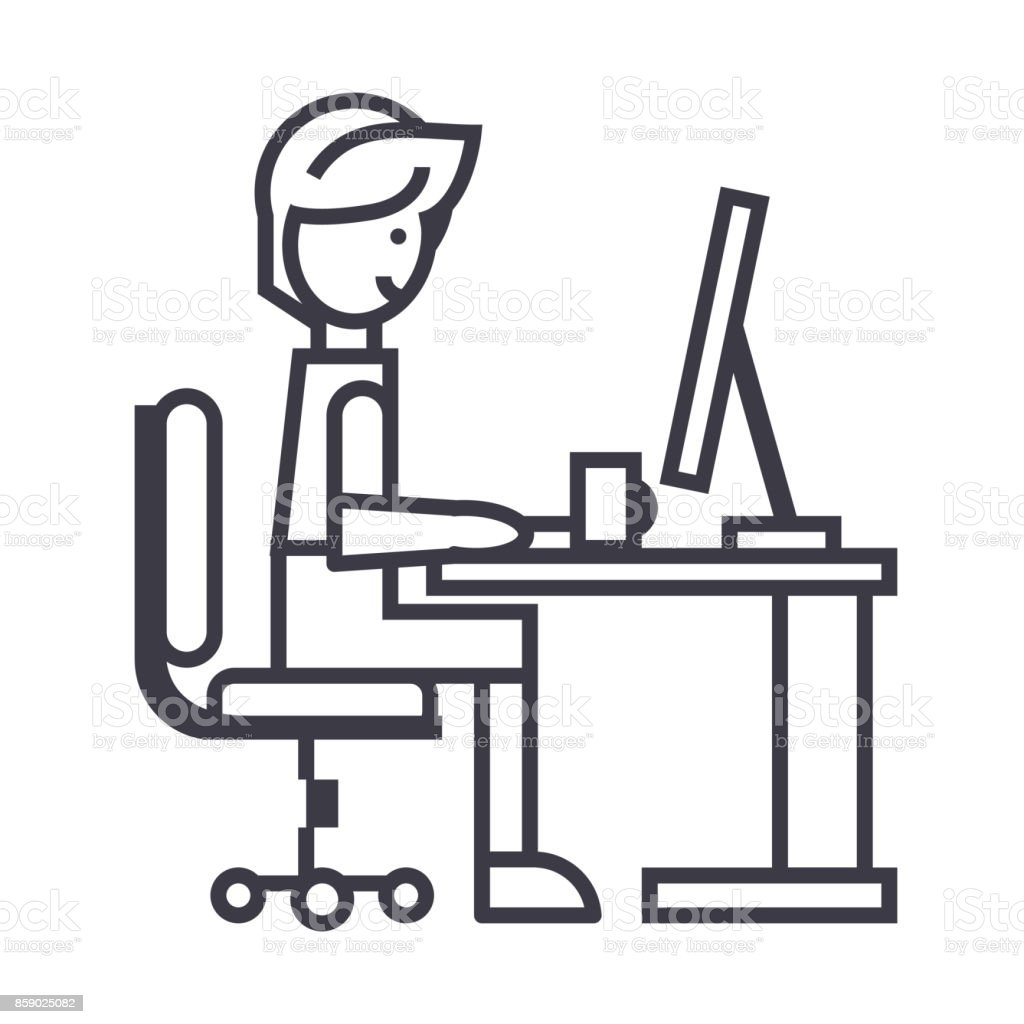 Man Working On Table At Homefreelancer Vector Line Icon Sign