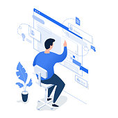 A man working on the Internet on a light background. Isometric 3d vector illustration.