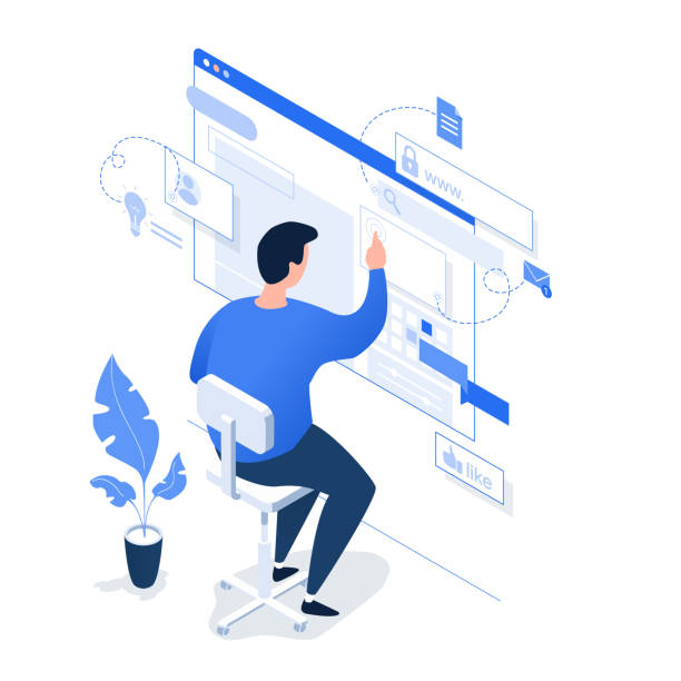 A man working on the Internet on a light background. A man working on the Internet on a light background. Isometric 3d vector illustration. design professional stock illustrations