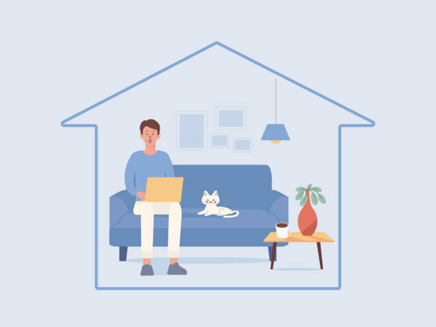 Man working online with a computer laptop on the sofa in the living room of the home, a cat lying near him. Stay home and safe. vector art illustration