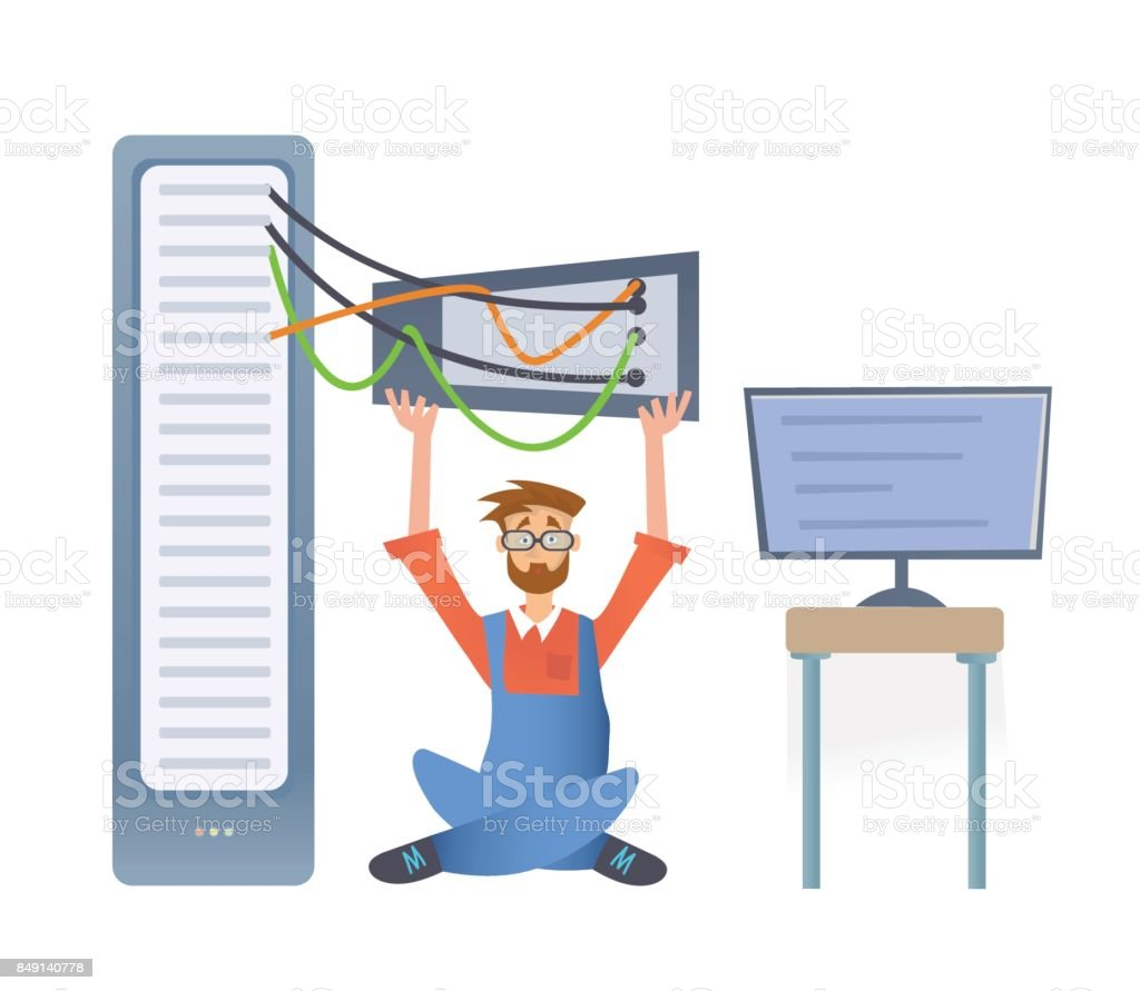 A man working with a computer server or a render farm. Technical specialist in the data center. Vector illustration, isolated on white. vector art illustration