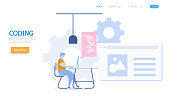 illustration of man working with coding vector landing page background