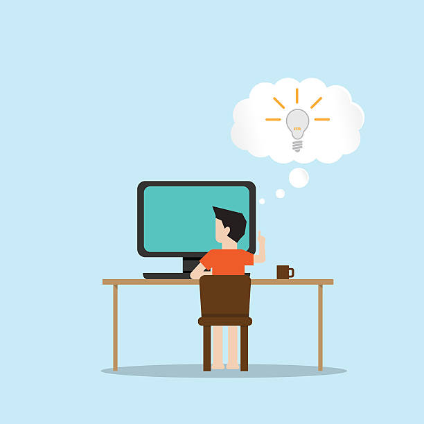 コンピューターで作業する男性をアイデア - 在宅勤務点のイラスト素材/クリップアート素材/マンガ素材/アイコン素材