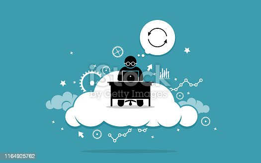 Vector artwork depicts cloud computing, data sync or information synchronization using cloud computing technology. Concept of internet technology and online.
