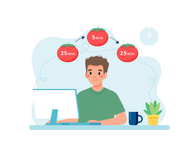 Man working with computer using time management. Pomodoro technique concept Vector illustration in flat style tomato sauce stock illustrations