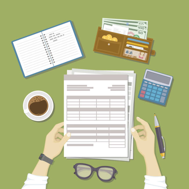 Man working with documents. Men's hands hold the accounts, payroll, tax form. Workplace with papers, notebook, wallet with money, calculator, pen, glasses, coffee. vector art illustration