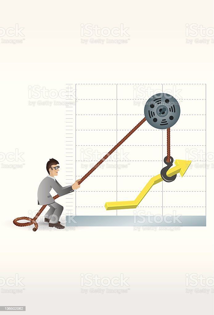 Man working with Graphic vector art illustration
