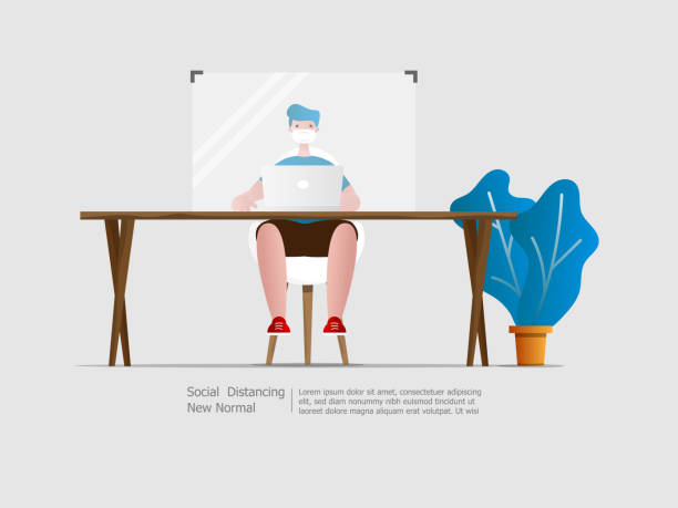 man working with partition social distancing vector art illustration