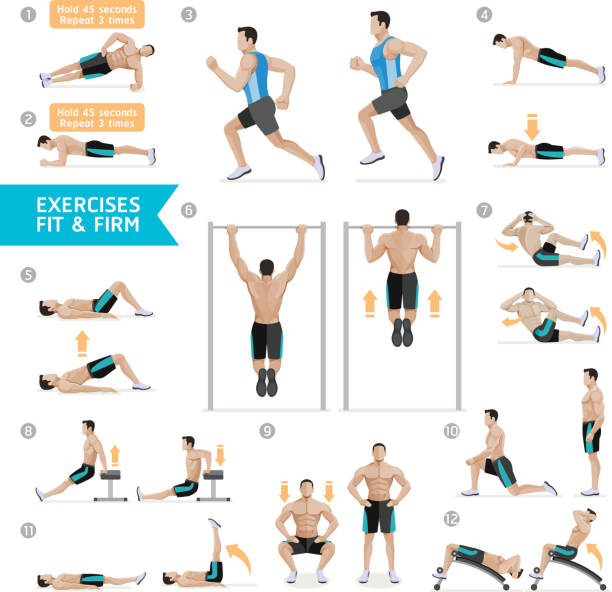 Man workout fitness, aerobic and exercises. vector art illustration