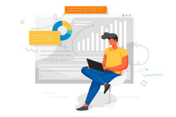 illustrazioni stock, clip art, cartoni animati e icone di tendenza di man works at a laptop and analyzes infographics. office concept business people - ritratto in ufficio
