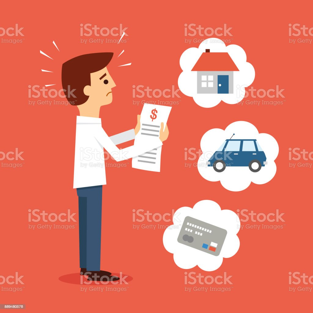 Man worried about paying Bills vector art illustration