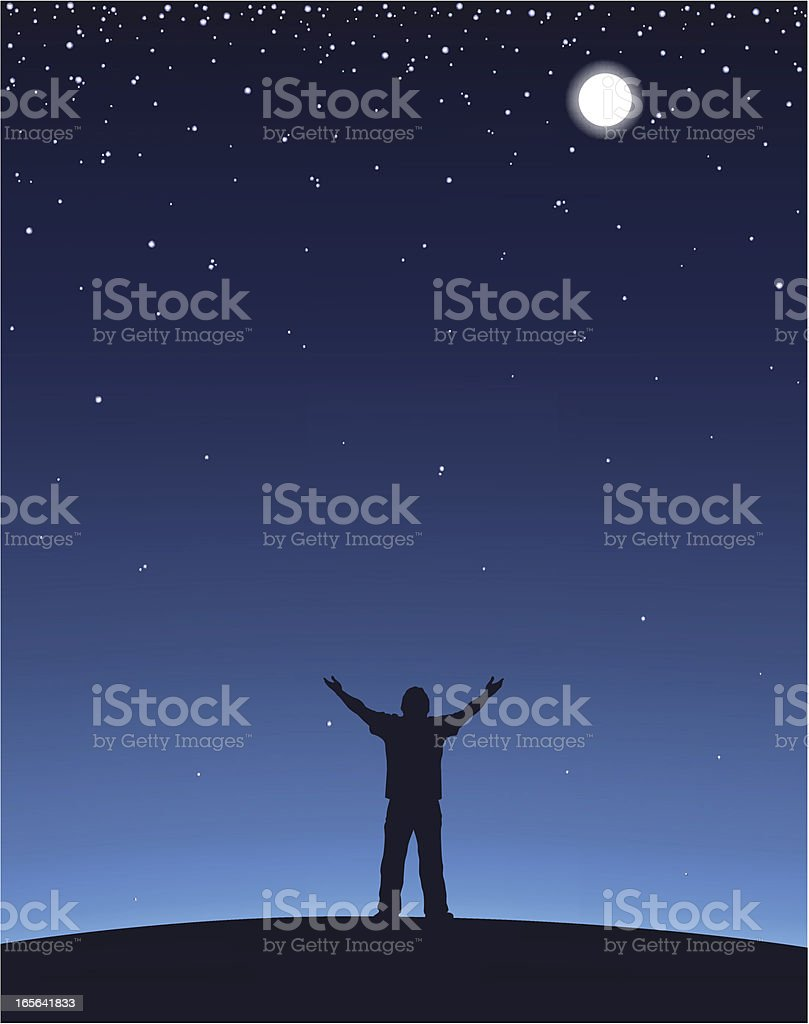 Man Worship vector art illustration