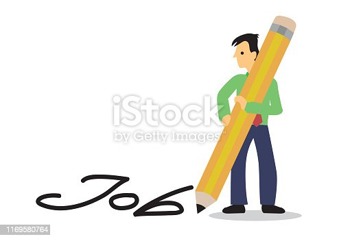 Man writes Job with giant pencil on the  floor. Cocnept of career searching. Flat cartoon vector illustration;