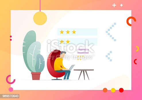 1130633985 istock photo Man Writing Feedback Message. Evaluate Service Rate. 989570640