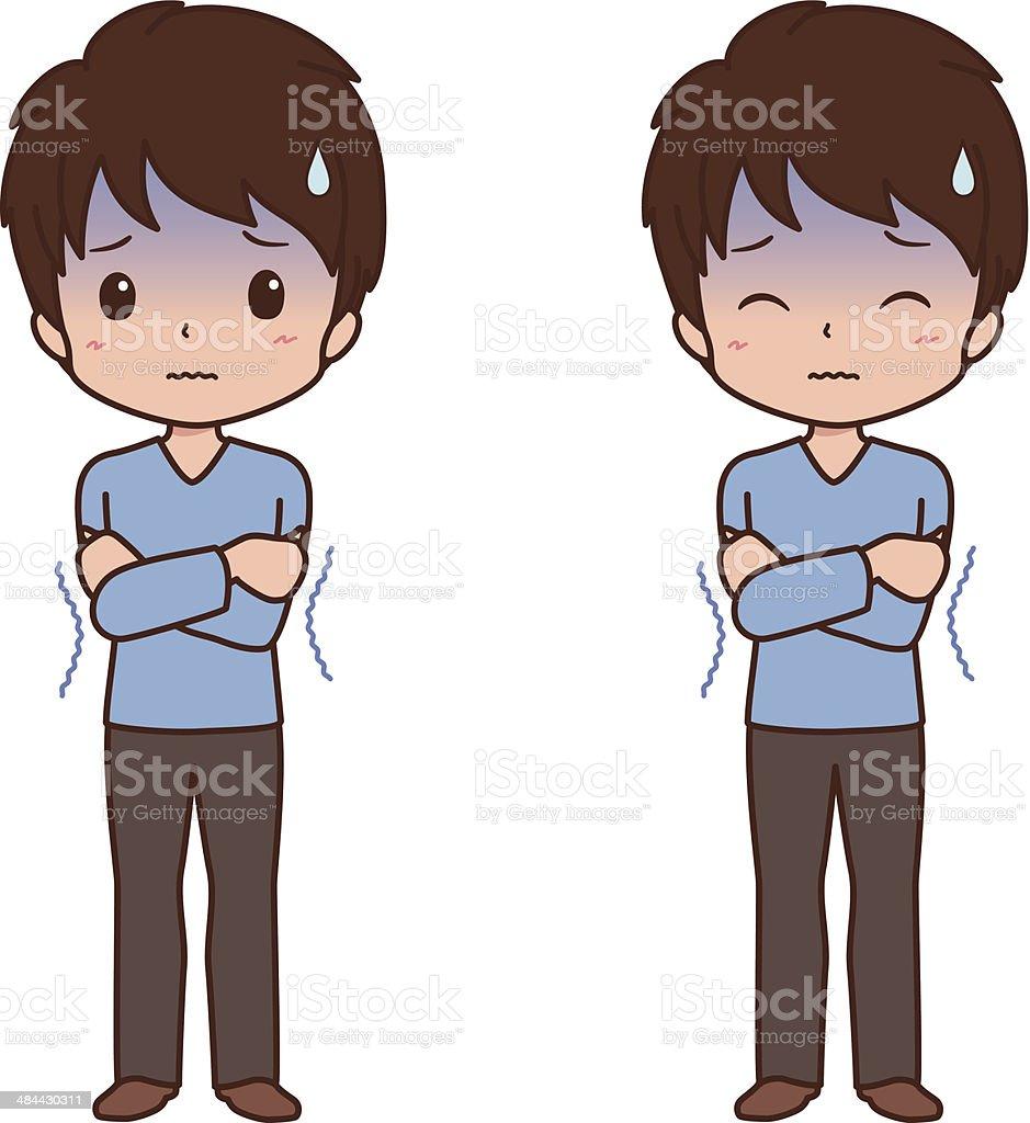 man_cold vector art illustration