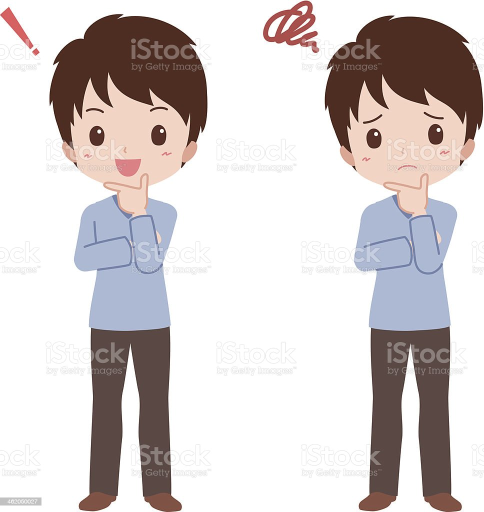 man_think vector art illustration