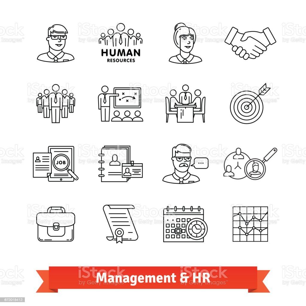 Management and Human resources. Thin line icons vector art illustration
