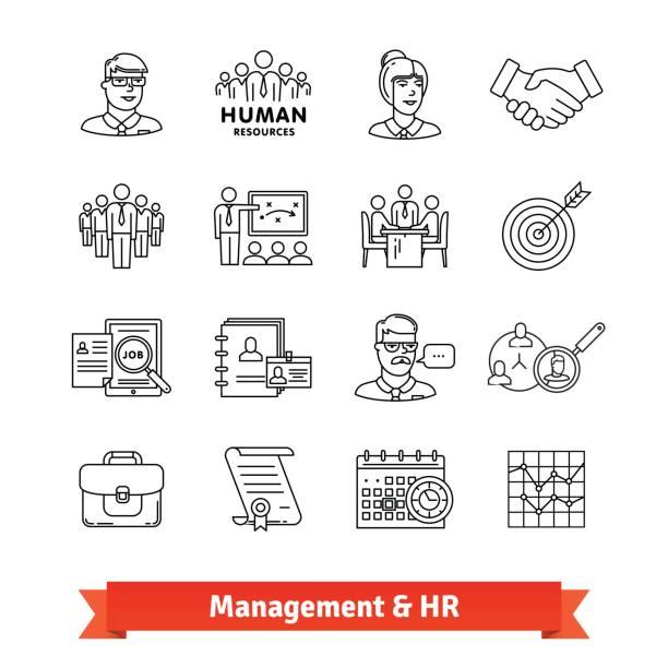 ilustrações, clipart, desenhos animados e ícones de gestão e recursos humanos. ícones de linha fina - ceo